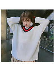 Sign Korean Institute loose wild basic models hit the color v-neck sweater bottoming sweater woman