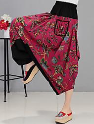 assinar calças de linho calças harem pants vento nacionais grandes jardas primavera feminino e verão calças calças de algodão solta