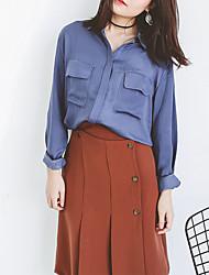 assinar na Primavera de 2017 versão coreana do bolso duplo retro camisa de mangas compridas feminina fundação frente