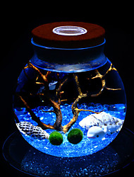 Mini Aquariums Decoration Glass Fish Tank Round LED Light