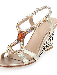 Sandals Spring Summer Fall Club Shoes Microfibre Wedding Office & Career Dress Wedge Heel Rhinestone Gore Gold