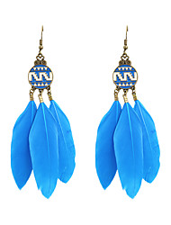 Inspirational Women Enamel Feather Drop Earrings
