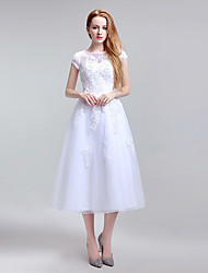 Formal Evening Dress A-line Jewel Tea-length Lace Tulle with Beading Lace