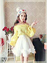 знак NETT 2017 новый корейский моды плеча утечки Жгут воротник принцесса рукав рубашки