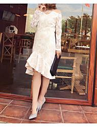modelo tiro real senhoras coreana temperamento rendas gola de renda fishtail pacote saia do vestido hip