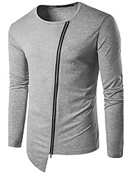 Men's Casual/Daily Simple Spring Fall T-shirtSolid V Neck Long Sleeve White Black Gray Cotton Medium Hot Sale
