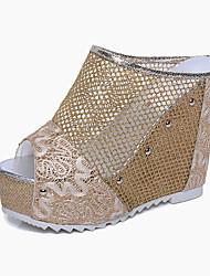 Damen-High Heels-Outddor Kleid Lässig-PU-KeilabsatzGold Schwarz Silber