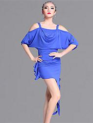 Danse latine Tenue Femme Spectacle Viscose 2 Pièces La moitié des manches Taille moyenne Haut Jupe