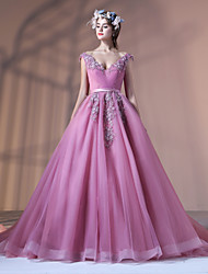 Formal Evening Dress - Floral Ball Gown V-neck Court Train Lace Tulle Polyester withAppliques Beading Flower(s) Lace Pearl Detailing Sash