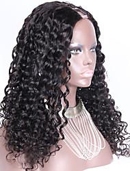 Vente en gros 150 densité de% u bouclés partie perruque à vendre brazilian upart cheveux perruque 24inch 1,5 * 4 partie médiane de couleur