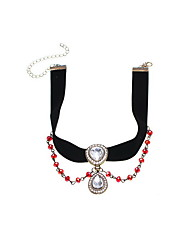 Women's Choker Necklaces Pendant Necklaces Rhinestone Gemstone Rhinestone Fabric Simulated Diamond Alloy DropFashion Personalized