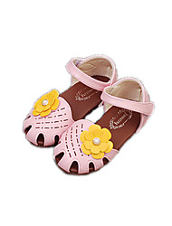 Sandals Spring Summer Fall Comfort Leatherette Casual Flat Heel Imitation Pearl Flower Pink Beige