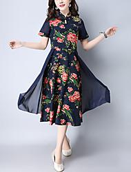 Feminino Evasê Vestido,Para Noite Vintage Estampado Colarinho Chinês Médio Manga Curta Algodão Linho Primavera Cintura MédiaSem