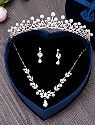 Jewelry 1 Necklace 1 Pair of Earrings Hair Jewelry Imitation Pearl AAA Cubic Zirconia Wedding Party Daily Zircon 4pcs Women Silver Wedding Gifts