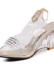 Sandalen-Hochzeit Kleid Lässig-PU-Kristallabsatz-Club-Schuhe-Silber Gold