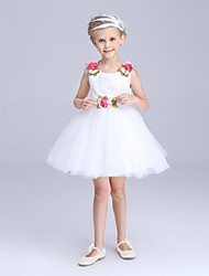 Ball Gown Short / Mini Flower Girl Dress - Organza Jewel with Flower(s) Sash / Ribbon
