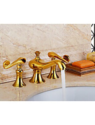 Golden Deck Mounted Bath Faucet Thermostatic Rain Shower Widespread with  Brass Valve Two Handles Three Holes for  Ti-PVD Basin Faucet