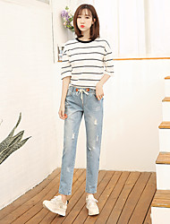 The new spring and summer elastic waist harem pants loose woman was thin denim pantyhose hole beggar pants feet