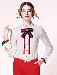 egeer  Women's Work Sophisticated Spring ShirtStriped Stand Long Sleeve White Black Silk Thin