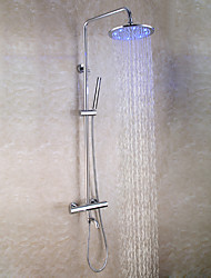 Contemporary Chrome Brass Bath Tub Shower Faucet Set / 10 Inch LED Shower Head / Hand Shower / Thermostatic Mixer Valve