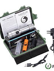 Iluminação Lanternas LED Kits de Lanternas LED 2000 Lumens 3 Modo Cree XM-L T6 18650.0 AAAFoco Ajustável Superfície Antiderrapante