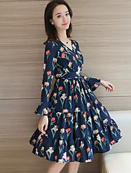 знак 2017 весной новый с длинными рукавами платье темперамент тонкий V-образным вырезом цветочные шифона платье