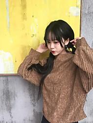 unterzeichnen College Wind kleine hohen Kragen Pullover feste Farbe Kord Hemdfrau