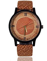 Hombre Reloj Deportivo Reloj de Vestir Reloj de Moda Reloj de Pulsera Reloj Madera Cuarzo / Piel Banda Cosecha Rayas camuflaje Encanto