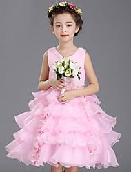 De Baile Até os Joelhos Vestido para Meninas das Flores - Organza Sem Mangas Decote V com Miçangas Pregas