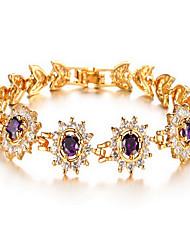 Chain Bracelet Crystal Zircon Simulated Diamond 18K gold Alloy Fashion Luxury Jewelry Flower Jewelry Sunflower Gold Jewelry 1pc