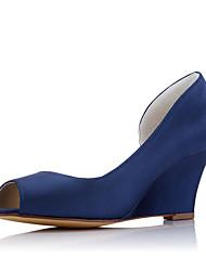 Mariage Habillé Soirée & Evénement-Blanc Bleu royal-Talon Compensé-Confort-Chaussures à Talons-Tissu