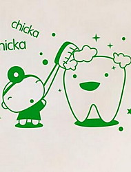 Cartoon Wall Sticker Brush Your Teeth Vinyl Material Home Decoration