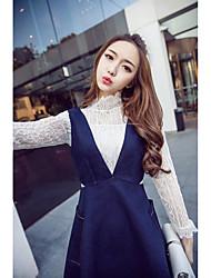 2017 весной новый с длинными рукавами кружева рубашка + юбка джинсовая двухсекционный жилет
