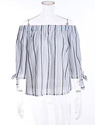 Damen Gestreift Einfach Ausgehen T-shirt,Bateau Frühling Sommer Kurzarm Baumwolle
