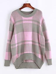 Damen Standard Pullover-Lässig/Alltäglich Ausgehen Einfach Niedlich Einfarbig Rosa Grau Orange Rundhalsausschnitt Langarm Baumwolle Winter