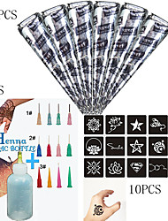 6 pcs Black Henna +3PCS Applicator + 10CS Full Stencil, Mehndi Body Art Set, Tattoo Paste Cones Sexy