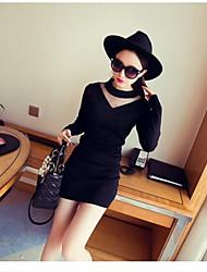 Versión coreana del vestido delgado de punto de tocar fondo neto falda de lana costura atractiva