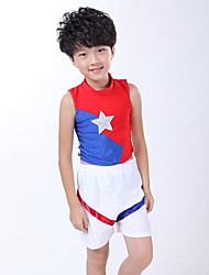 Cheerleader Costumes Outfits Children's Performance Spandex Draped 2 Pieces Sleeveless Natural Top Shorts