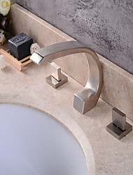 Contemporary Widespread Clawfoot with  Ceramic Valve Three Handles Three Holes for  Nickel Brushed , Bathroom Sink Faucet