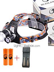 U'King® ZQ-G808USBS#2-EU 3 * CREE XML-T6 6000LM 4Mode Zoomable Headlamp Kit Micro USB Charging Version