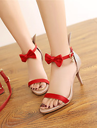 Women's Sandals Spring Summer Fall PU Dress Casual Party & Evening Stiletto Heel Bowknot White Black Red Green
