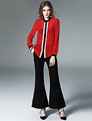 Women's Work Simple Spring Blouse,Color Block Round Neck Long Sleeve Red Black Silk Thin