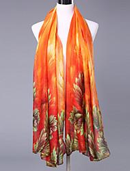 Rétro Soirée Décontracté Coton Polyester Femme Écharpe,Imprimé Rectangle,Rouge Vert Rose Jaune Orange