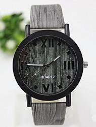 Unisex Fashion Watch Quartz PU Band Casual Brown Green Yellow Black/Green Brown Brown black Wood