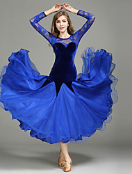 Ballroom Dance Dresses Women's Performance Lace Tulle Velvet Lace Splicing 1 Piece Long Sleeve Natural Dress