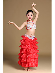 Belly Dance Outfits Children's Performance Polyester Cascading Ruffle Crystals/Rhinestones 2 Pieces Sleeveless Dropped Skirt Bra