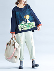 Для женщин На каждый день В помещении Школа Свидание Отпуск Для улицы Очаровательный Обычный Пуловер Милый,Круглый вырез Длинный рукав