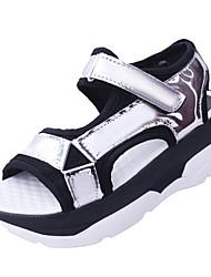 Women's Sandals Comfort PU Spring Summer Casual Dress Comfort Flat Heel White Black Silver Flat