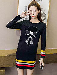 Sign a large stock of new long-sleeved round neck cartoon preppy sweater + skirt two-piece