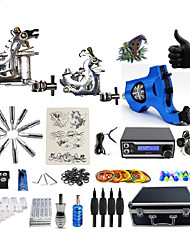 Complete Tattoo Kit 3  Machines Sabrina With LED Dual Digital Power Supply  liner & shader